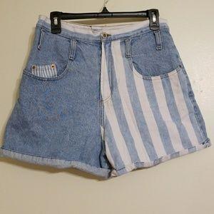 Vintage STEEL Denim Shorts Stripes Light Wash